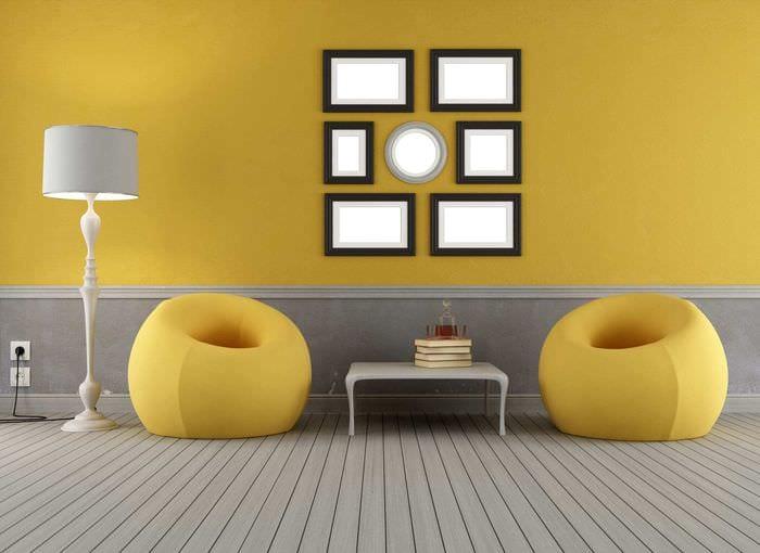 пример использования яркого желтого цвета в декоре квартиры