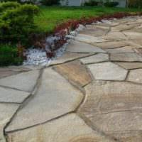 идея использования ярких садовых дорожек в ландшафтном дизайне картинка