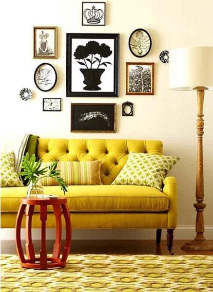 вариант использования необычного желтого цвета в декоре комнаты картинка