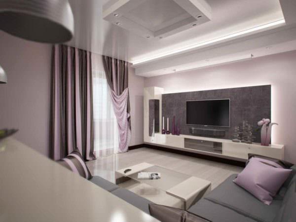 пример яркого декора гостиной 15 кв.м фото
