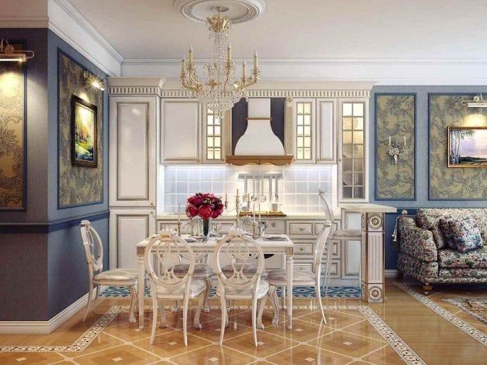 вариант светлого интерьера кухни в классическом стиле