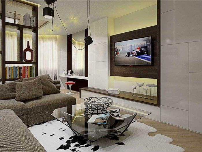 идея светлого декора гостиной спальни