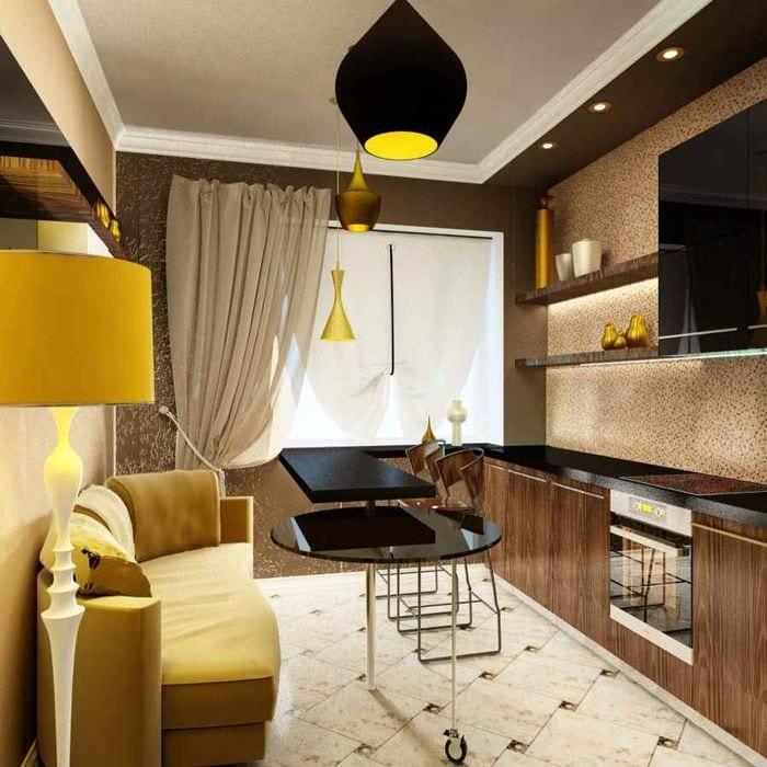 пример необычного стиля кухни 13 кв.м