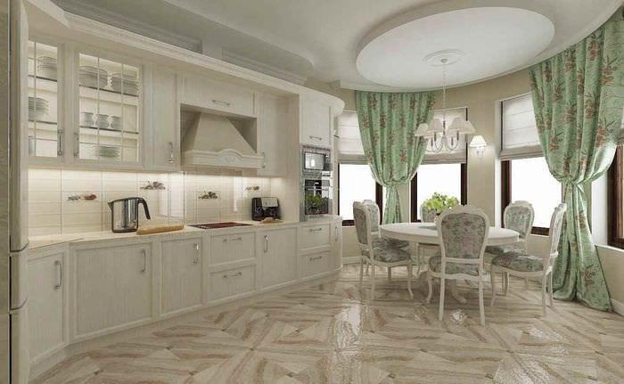 пример красивого дизайна кухни в классическом стиле