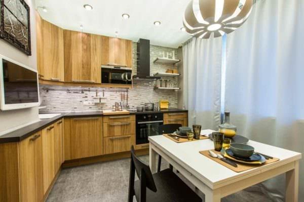 идея светлого декора кухни 10 кв.м. серии п 44 фото