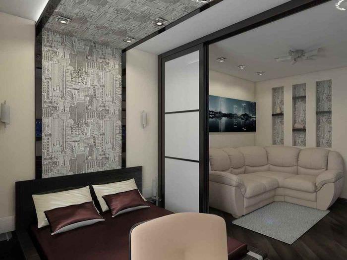 вариант необычного дизайна гостиной 15 кв.м