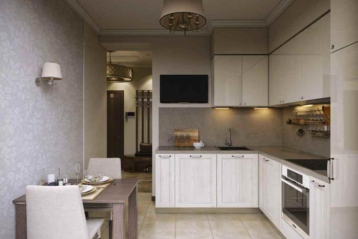 вариант светлого стиля кухни 7 кв.м