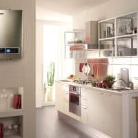 пример необычного дизайна кухни с газовой колонкой картинка