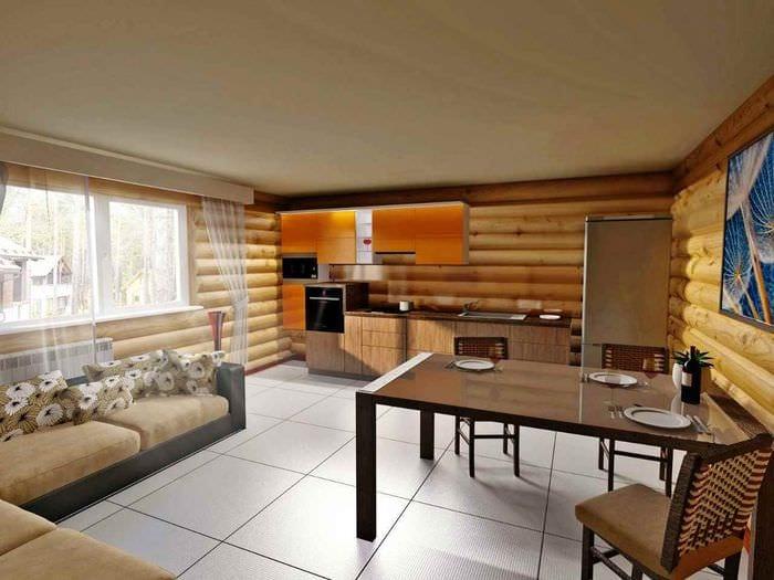 пример светлого дизайна кухни в деревянном доме
