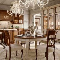 пример яркого дизайна кухни в классическом стиле картинка