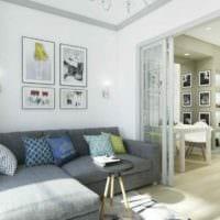пример яркого стиля студии 20 кв.м фото