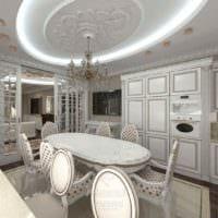 пример красивого интерьера кухни в загородном доме картинка