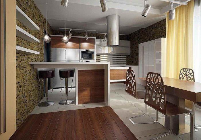 вариант яркого стиля кухни в загородном доме