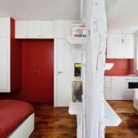 вариант яркого дизайна квартиры студии 26 квадратных метров картинка