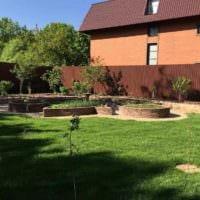 вариант яркого декора огорода в частном дворе фото