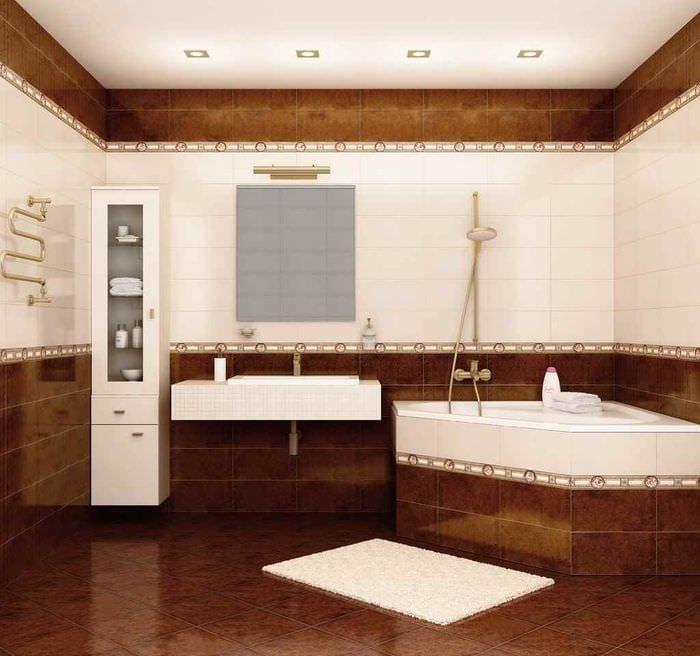 идея светлого интерьера укладки плитки в ванной комнате