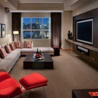 вариант яркого дизайна гостиной спальни картинка
