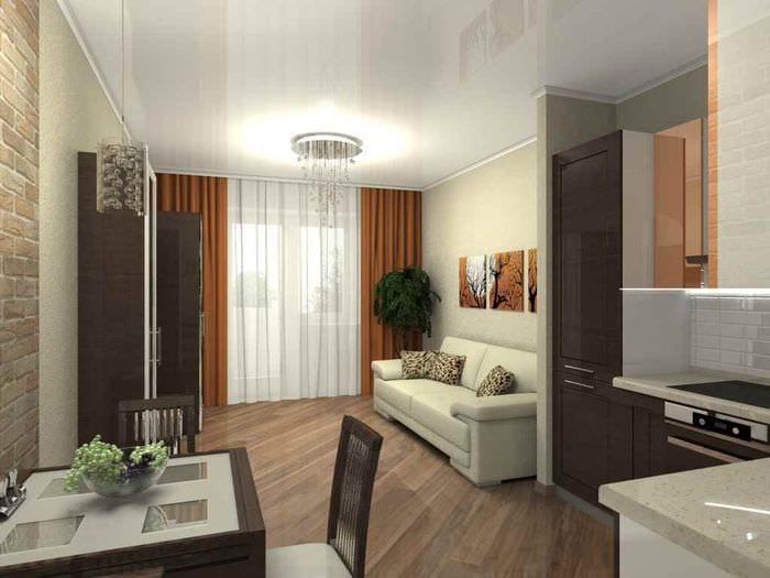 идея светлого интерьера квартиры студии 26 квадратных метров