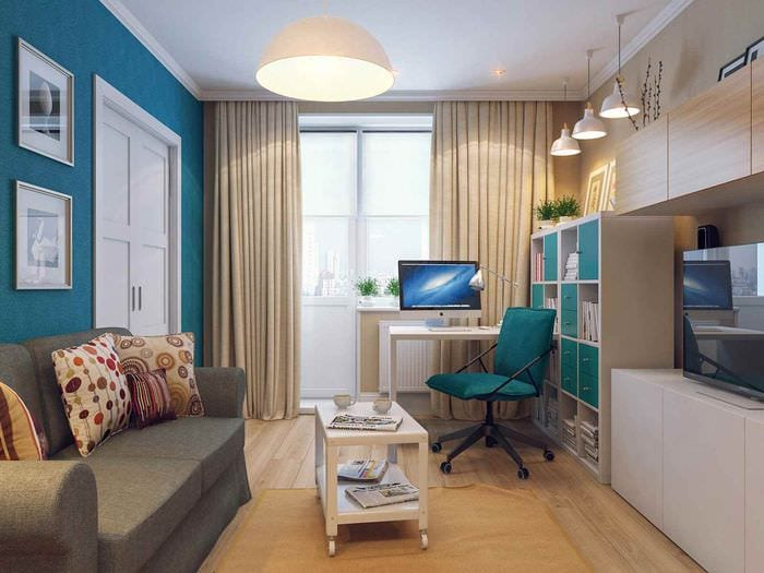 вариант светлого дизайна гостиной 15 кв.м
