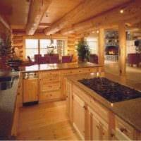 вариант яркого стиля кухни в деревянном доме фото