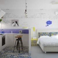пример красивого интерьера квартиры студии 26 квадратных метров фото