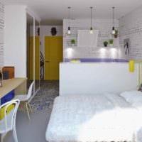 пример яркого декора квартиры студии 26 квадратных метров картинка