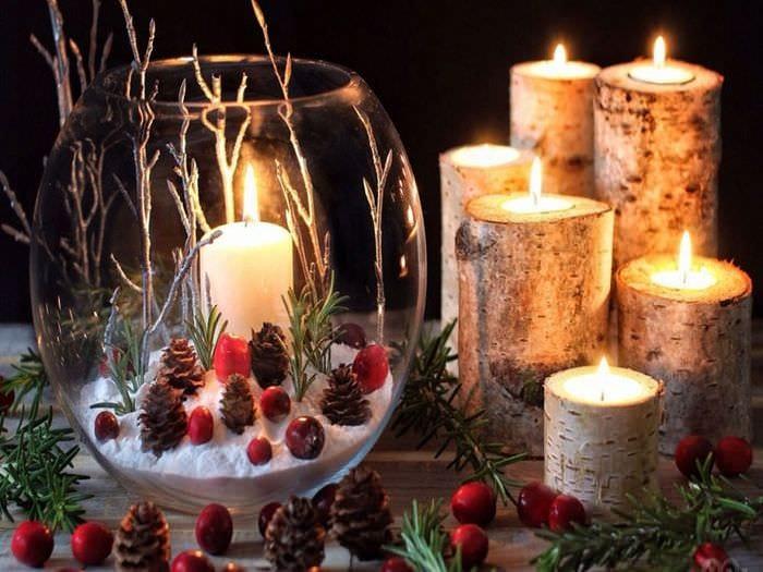вазы с декором и свечами