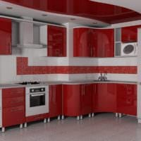 яркий кухня с вентиляционным коробом