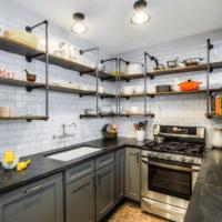 дизайн кухни 6 кв м с полками