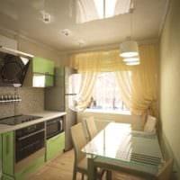 дизайн кухни 6 кв м с натяжными потолками