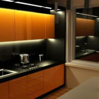 дизайн кухни 6 кв м освещение