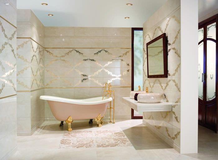плитка из керамогранита в ванной