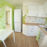 дизайн кухни 6 кв м зеленые обои