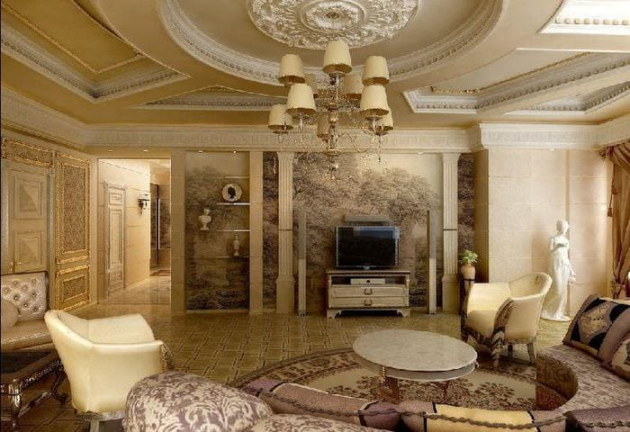 дизайн гостиной классика
