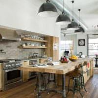 дизайн кухни без верхних навесных шкафов фото