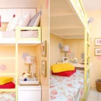 дизайн маленькой детской комнаты кровать в тон стен