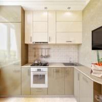дизайн маленькой кухни бежевый гарнитур
