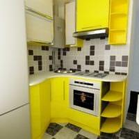 дизайн маленькой кухни желтый гарнитур
