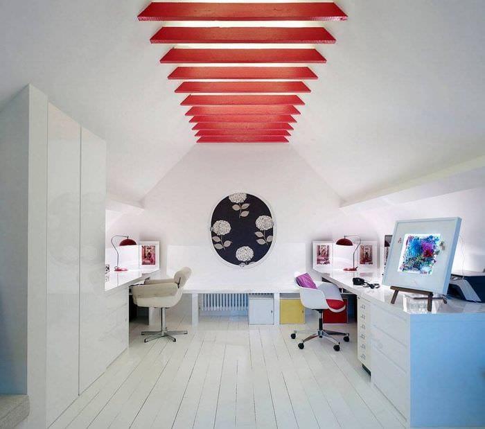 дизайн мансарды кабинета