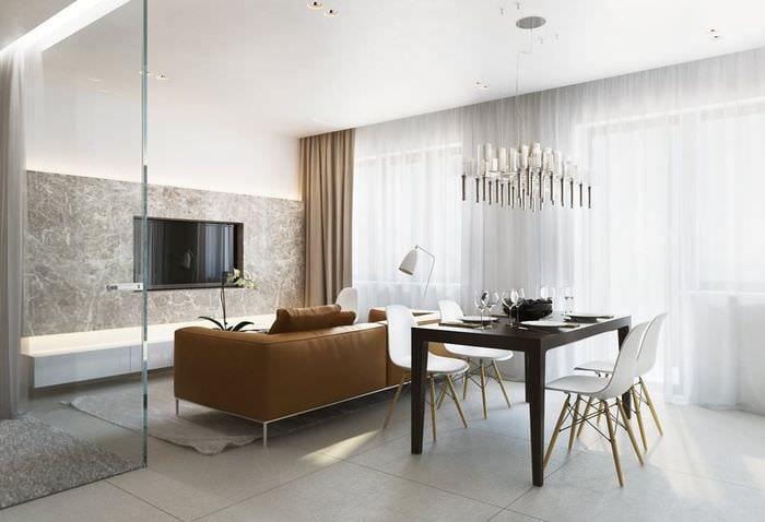 дизайн однокомнатной квартиры 33 м2 со стеклянной спальней