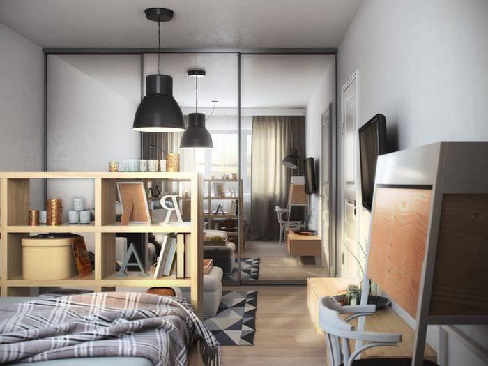 квартира 45 кв м со стеллажами