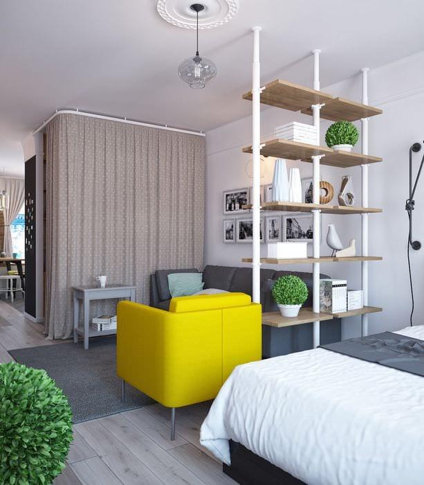 примеры зонирования однокомнатной квартиры фото