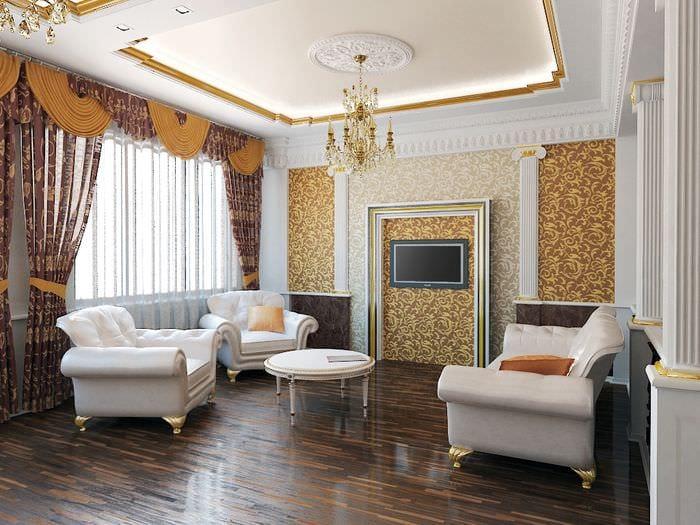 дизайн потолка в гостиной классика
