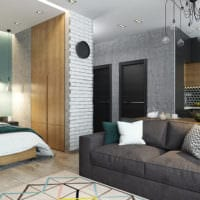 дизайн студии 36 кв м со спальней идеи фото