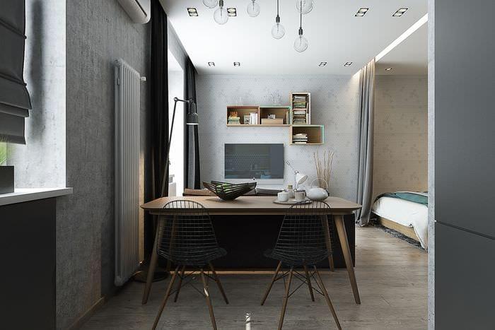 дизайн студии 36 кв м со спальней в нише