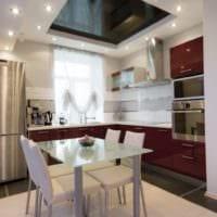 дизайн кухни 6 кв м потолок