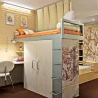 дизайн однокомнатной квартиры с детской двухъярусная кровать