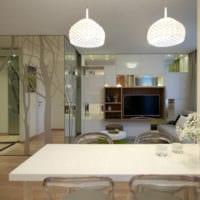 интерьер однокомнатной квартиры со спальней 36 м2