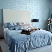 дизайн маленькой спальни в голубом цвете