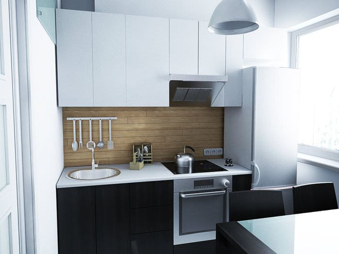 черно белый гарнитур на кухне